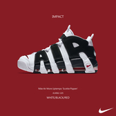 IMPACT Nike Air More Uptempo GS 大AIR 熊貓 黑白紅 氣墊 414962-105 415082-105