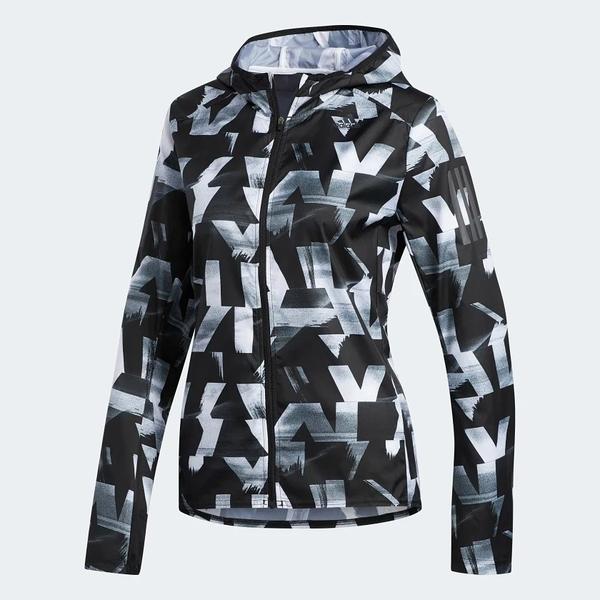 ADIDAS OWN THE RUN SPEED SPLITS 女裝 外套 連帽 休閒 防風 防潑水 幾何圖形 黑 白【運動世界】DQ2628