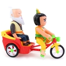 葫蘆娃玩具 葫蘆娃騎三輪車帶著老爺爺 兒童音樂電動玩具車1-3歲   麻吉鋪