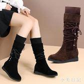 大碼新款秋冬季平底中筒靴時裝馬靴長靴子內增高騎士靴大碼高筒靴 qf7741【小美日記】