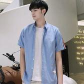 短袖條紋襯衫 男夏季韓版修身潮流純色薄款襯衣《印象精品》t412