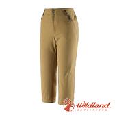 【wildland 荒野】女 高彈性抗UV防潑修身七分褲『卡其』0A91375 戶外 休閒 運動 露營 吸濕 排汗 快乾