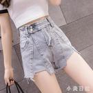 夏季出清~高腰不規則兩粒扣牛仔短褲夏寬鬆...