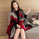 圍巾兩用女冬季韓版仿羊絨披肩斗篷新款百搭加厚寬鬆保暖披風外套