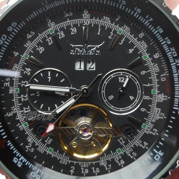 JARAGAR 全自動機械錶 陀飛輪雙日曆男錶 數字真三眼 自動上鍊簍空防水手錶 F034黑【時間玩家】