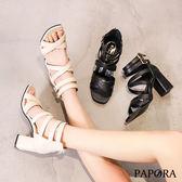 PAPORA時尚高跟羅馬涼鞋KQ9265黑/杏(偏小)