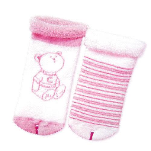 【奇買親子購物網】奇哥 熊印花毛巾襪(2入)/(米色/粉色)