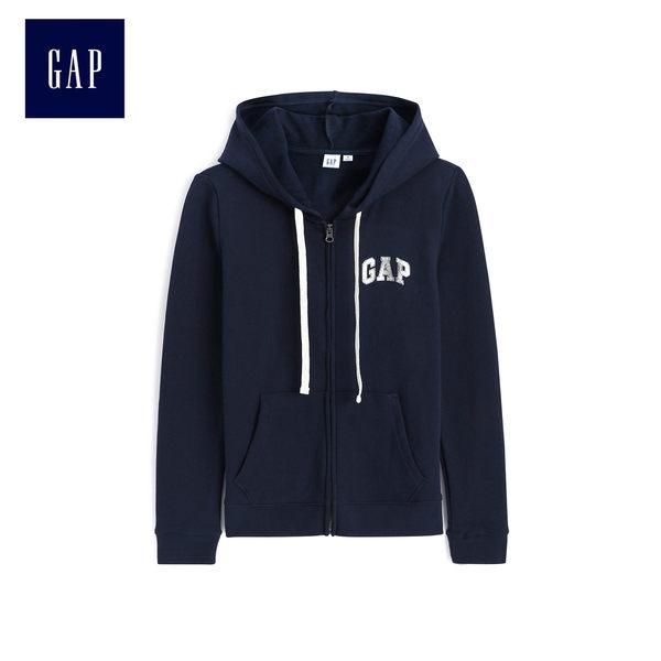 Gap女裝 Logo連帽拉鏈休閒上衣外套 499701-海軍藍色