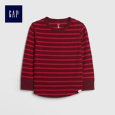 Gap男嬰幼童 紋理感針織條紋長袖T恤 496406-酒紅色