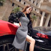 VK精品服飾 韓國風氣質V領呢子拼接格紋長袖洋裝