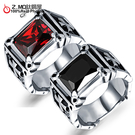 [Z-MO鈦鋼屋]鈦鋼中性戒指/優質白鋼材質/不生鏽過敏/十字寶石造型單件價【BKS470】
