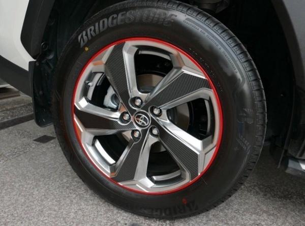 TOYOTA豐田【RAV4鋼圈邊條貼膜】輪框膠條貼 紅色線條貼 3M黃色貼紙 鋁圈邊框貼紙 輪胎橡皮