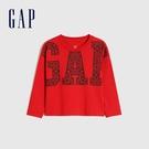 Gap男幼童 Logo創意圓領長袖T恤 656228-紅色