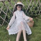 2018夏季女裝韓製學生白色裙中長款小清新裙子仙氣刺繡蕾絲連身裙