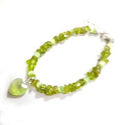 橄欖石碎片與葡萄石愛心純銀手鍊