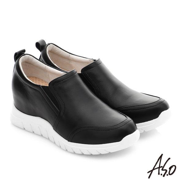 A.S.O 繽紛冒險 牛皮超輕內增高休閒健走鞋 黑