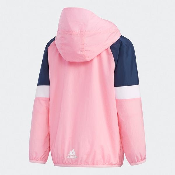 Adidas LK BRAND WV JK 童裝 外套 連帽 風衣 網布 口袋 粉白【運動世界】GP0373