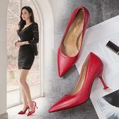韓版時尚氣質高跟鞋百搭女鞋細跟尖頭淺口單鞋女鞋