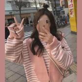 元氣少女穿搭可愛日系連帽圍巾女秋冬季粉色毛線圍脖學生外搭披肩