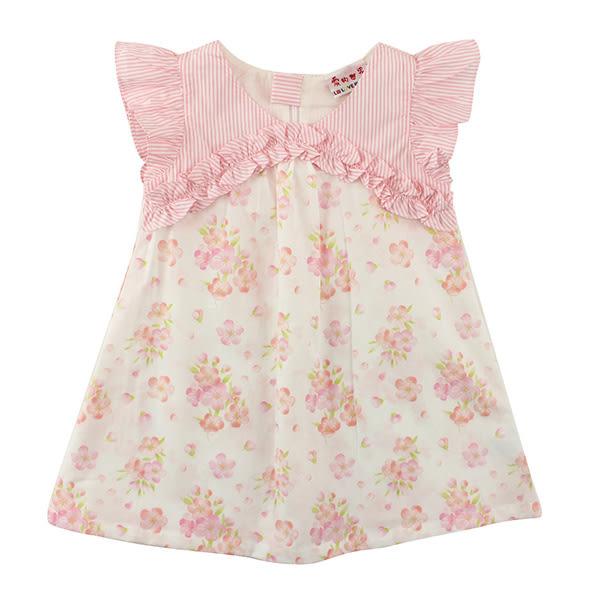 【愛的世界】純棉小小花園荷葉邊前襟花卉半袖洋裝/6~8歲-台灣製- ★春夏洋裝