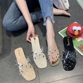 拖鞋 2019夏季新款簡約外穿拖鞋女鉚釘時尚韓版海邊度假沙灘粗跟拖鞋女 名創家居館