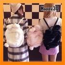 毛絨後背包雙肩包大容量原宿兔子包可愛毛絨背包書包少女心書包後背包-粉/黑/白【AAA3200】預購