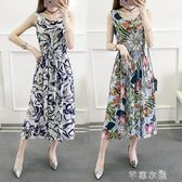 夏季新款韓版碎花無袖背心裙中長款大碼顯瘦抽繩棉綢洋裝女   芊惠衣屋