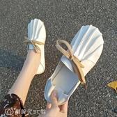 豆豆鞋 單鞋女春百搭森女系復古包頭豆豆鞋子學生休平底懶人鞋 【創時代3C館】