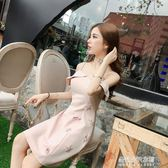 新款韓版款一字肩領名媛修身性感無袖小禮服吊帶洋裝女  朵拉朵衣櫥