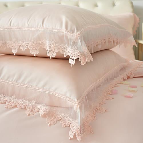 義大利La Belle《艾蜜拉》特大天絲蕾絲四件式防蹣抗菌舖棉兩用被床包組