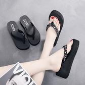 夾腳拖 新款夏季人字拖鞋女外穿韓版防滑簡約海邊沙灘鞋坡跟厚底夾腳涼拖 源治良品