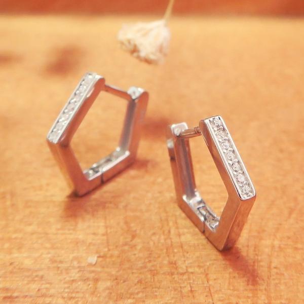 易扣/圈式耳環 滿鑽方線五角-大款 純銀耳環 (白K金色款)