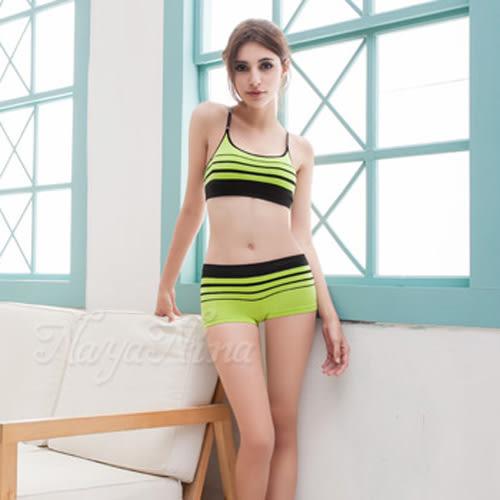 無鋼圈內衣平口褲組 運動背心 無縫工字背S-XL(黃綠)《Life Beauty》