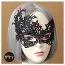 【摩達客】萬聖派對化妝舞會頭飾-哥德風死神黑色蕾絲精緻編織眼罩