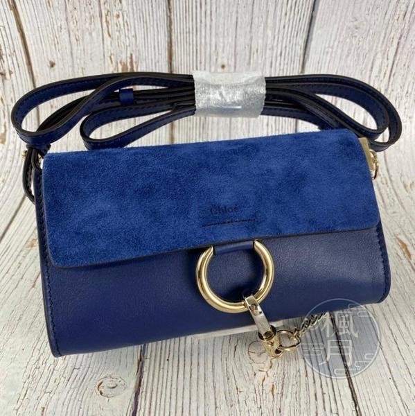 BRAND楓月 CHLOE FAYE MINI 皮革 麂皮 拼接 深藍 側背包 隨身包