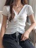 夏季2020新款V領冰絲針織衫女短袖洋氣打底半袖抽繩上衣t恤ins潮