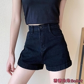 牛仔短褲 黑色高腰牛仔短褲女夏新款直筒寬鬆顯瘦寬管褲超短褲子-Ballet朵朵