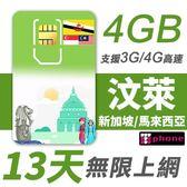 【TPHONE上網專家】汶萊 13天 無限上網卡 前4GB支援4G高速(包含新加坡/馬來西亞)