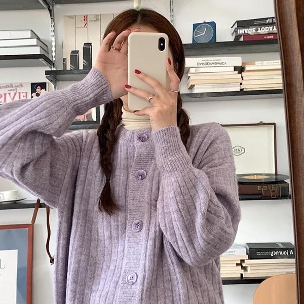 毛衣外套 女寬松外穿紫色外套春百搭2021新款復古日系慵懶風針織開衫【快速出貨八折特惠】