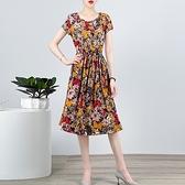 棉麻洋裝連身裙~無袖洋裝~綿綢短袖連身裙女中長款大碼修身圓領印花裙子2F055莎菲娜