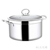 不銹鋼復底小湯鍋加厚煲湯煮粥電磁爐用不粘鍋直角家用 QQ24656『MG大尺碼』
