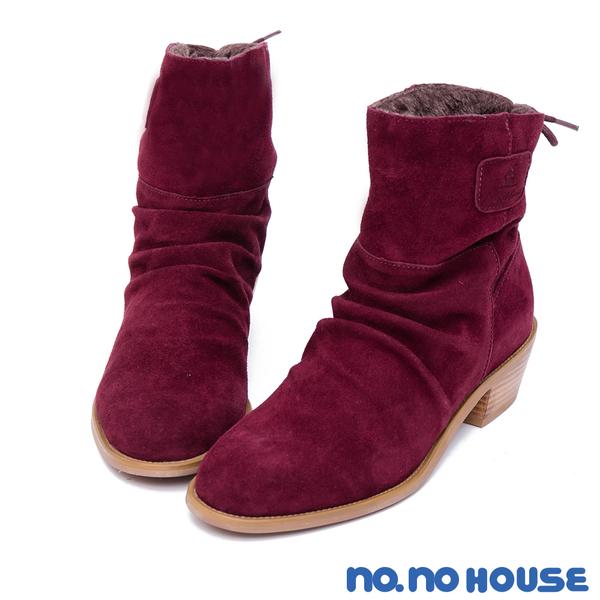 短靴 絕佳質感真皮後綁帶短筒靴(紅) * nonohouse【18-8565r】【現貨】
