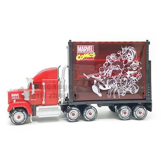 〔小禮堂〕MARVEL漫威 夢幻展示貨車貨櫃組合《黑紅.英雄們.雷神索爾.蜘蛛人.鋼鐵人》 4904810-97503