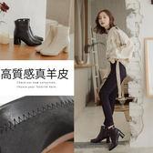 Ann'S纖細小姐姐-小羊皮方頭低跟塑身短靴-黑