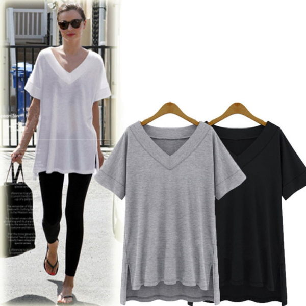 大尺碼 歐美純色V字寬鬆短袖T恤上衣3色L~4XL【紐約七號】LG-200