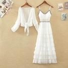 蛋糕裙 雪紡吊帶裙長裙兩件套女夏新款設計感季層層蛋糕裙過膝連身裙套裝 寶貝寶貝計畫 上新