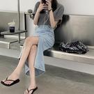 開叉牛仔半身裙女中長款2021夏韓版a字高腰淺藍色顯瘦過膝包臀裙