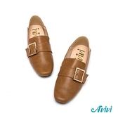 【Avivi】經典方釦樂福鞋-咖