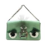 FENDI綠色牛皮小怪獸造型手提小包手機袋 8M0354Bugs Monster Micro Bagatte BRAND OFF