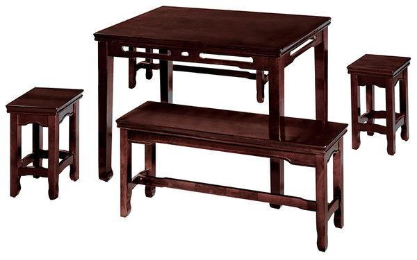 【森可家居】中式復古實木唐式長古椅板凳 7SB356-3 DIY自行組裝